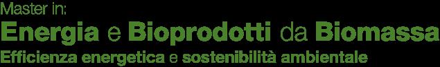Master in: Energia e bioprodotti da biomassa. Efficienza energetica e sostenibilità ambientale